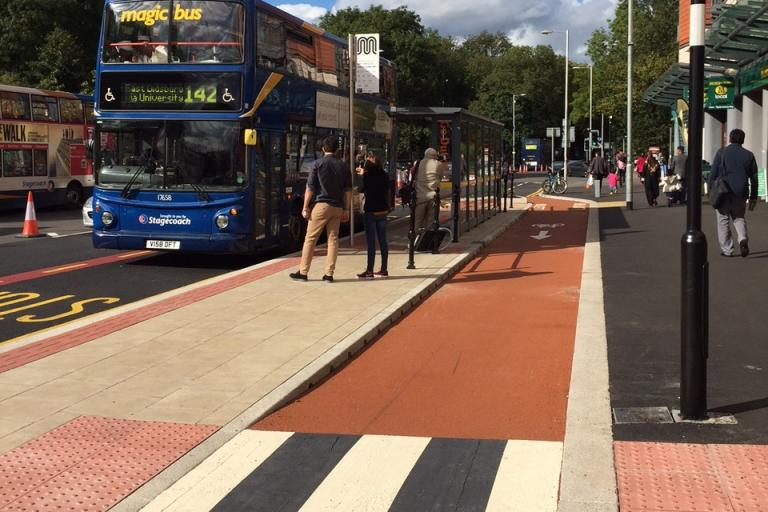 Manchester Oxford Road bus stop bypass (image supplied by TfGM)