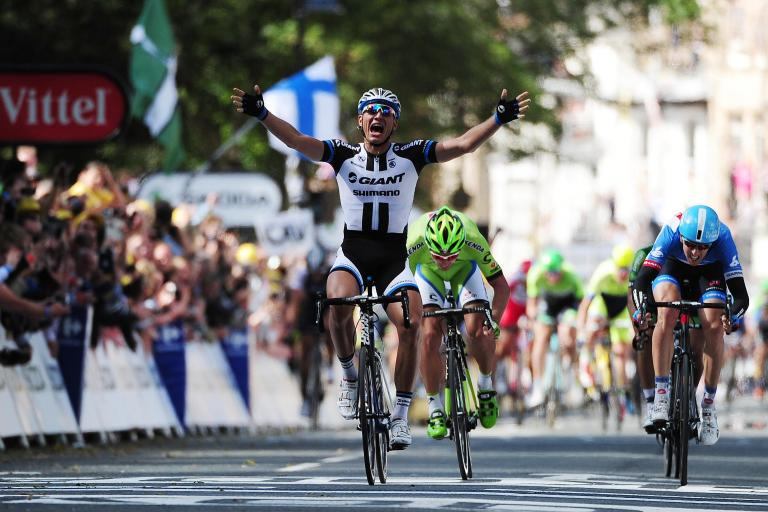 Marcel Kittel wins Stage 1 2014 Tour de France in Harrogate  (picture credit Welcome to Yorkshire)