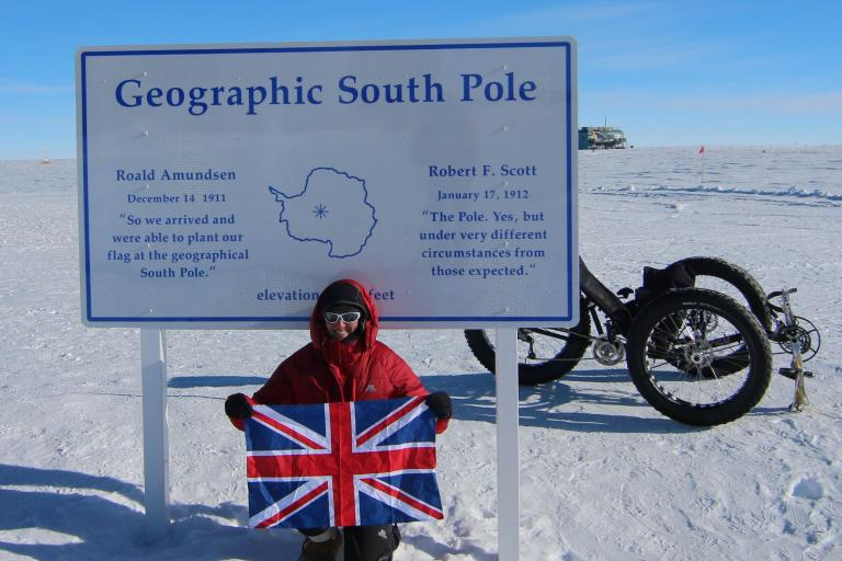 Maria Leijerstam at the South Pole (picture courtesy ICE Trikes)