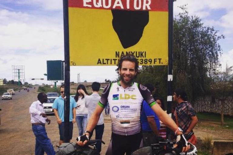 Mark Beaumont at the Equator (source Facebook, cropped)