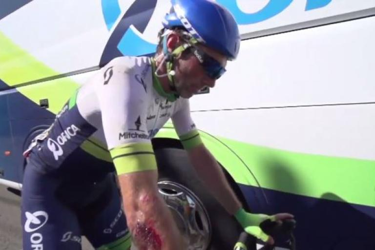 Michael Albasini after 2015 TdF Stage 3 crash (Orica-GreenEdge YouTube still)
