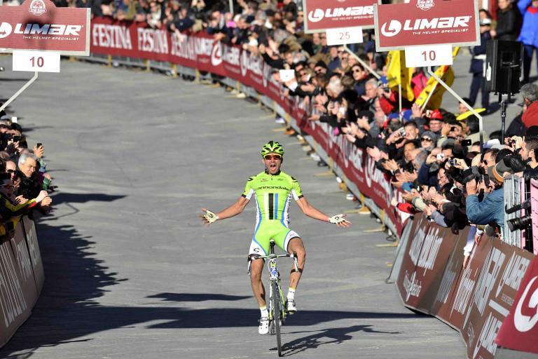 Moreno Moser wins 2013 Strade Bianche (picture credit LaPresse, RCS Sport)