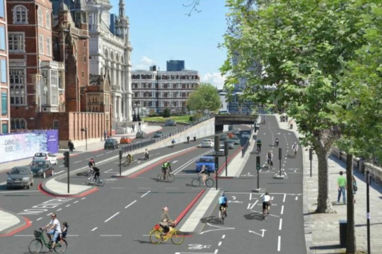 New Cycle Superhighways - The proposed cycle interchange at Blackfriars.png
