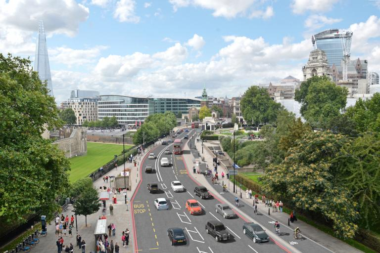 New Cycle Superhighways - Visualisation of proposed segregated two-way cycle track on Tower Hill