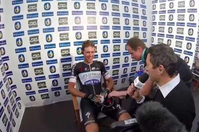 Niki Terpstra after winning Paris-Roubaix 2014 (OPQS YouTube still)