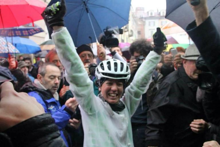 Paola Gianotti at the end of her 144-day record-breaking trip round the world