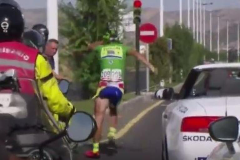 Peter Sagan after 2015 Vuelta Stage 8 crash (Eurosport still)