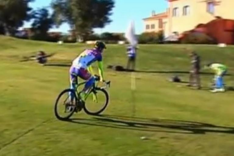 Peter Sagan playing bike golf