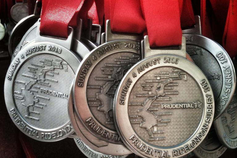 Prudential RideLondon-Surrey 100 medals (copyright Simon MacMichael)