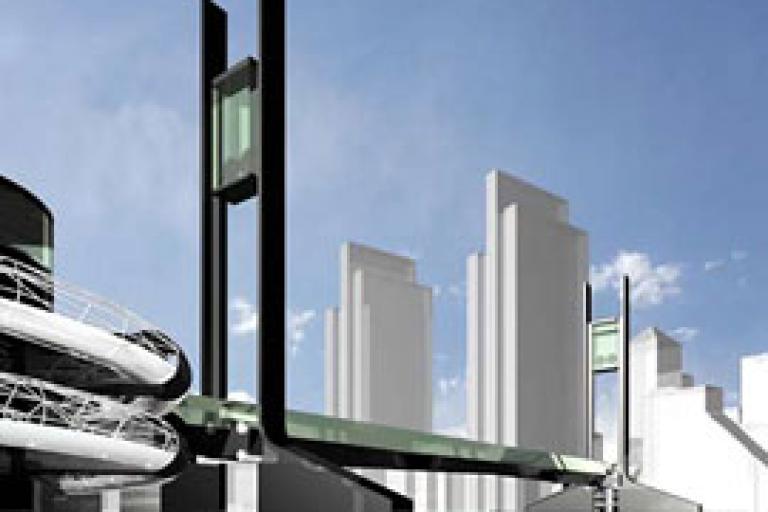 Ramboll's illustration of Sustrans bridge to Canary Wharf