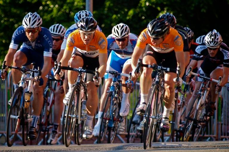 Rapha Condor Sharp in leaders jerseys at Halfords Tour Series 2010 Stoke on Trent copyright Simon MacMichael.jpg