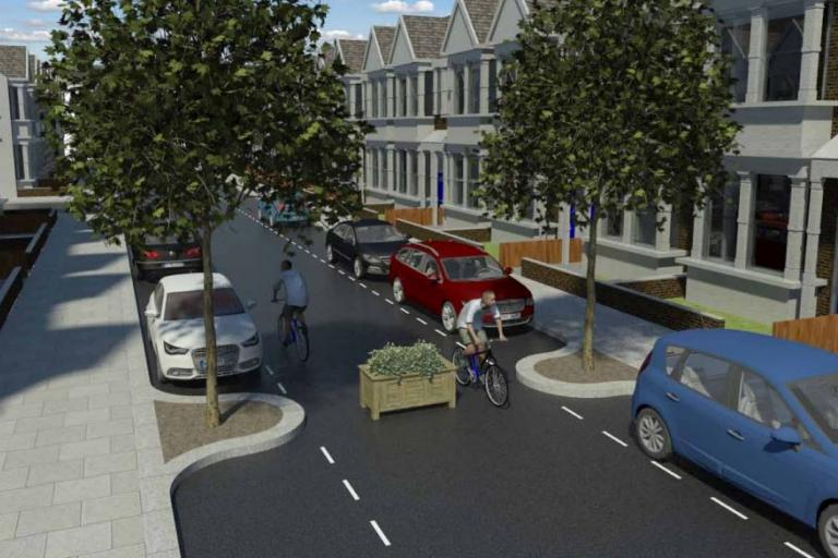 Residential street with modal filter (source LB Waltham Forest Mini Holland bid)