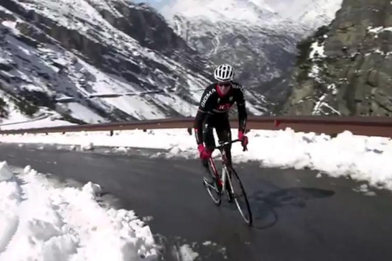 Dan Lloyd of Team IG Sigma Sport rides the Stelvio