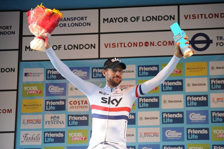 Sir Bradley Wiggins after winning Stage 8a of 2014 Tour of Britain (pic credit SweetSpot)