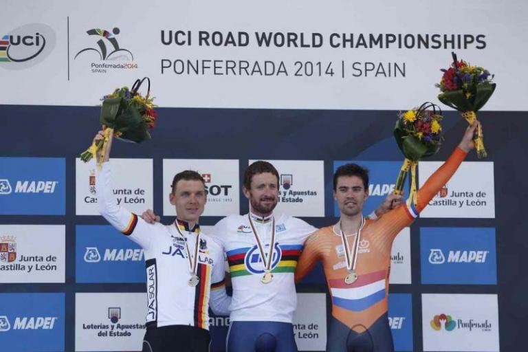 Sir Bradley Wiggins on top step of World Championship 2014 men's TT podium