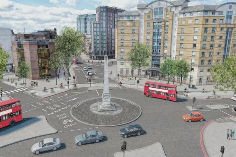 St George's Circus North-South Cycle Superhighway proposals (source TfL)