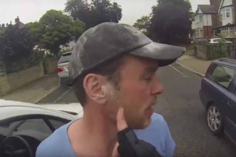 Still taken from Van Driver Attacks Innocent Cyclist YouTube video
