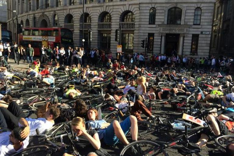Stop Killing Cyclists protest at Bank (photo by Tom Kearney via Twitter)
