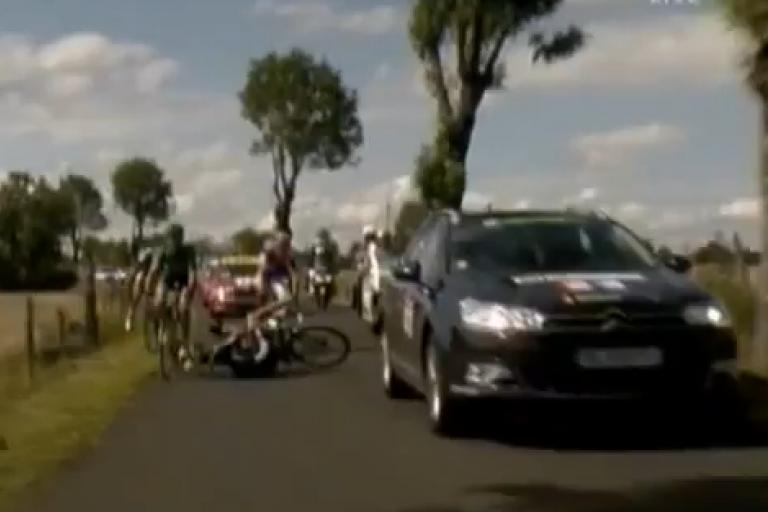 Flecha hit by car TDF Stage 9 credit Sporza.jpg