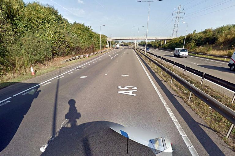 The approximate scene of the crash on the A5 (Google Streetview)
