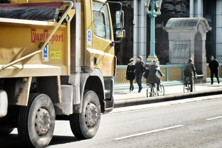 Tipper truck and cyclists (copyright Simon MacMichael)