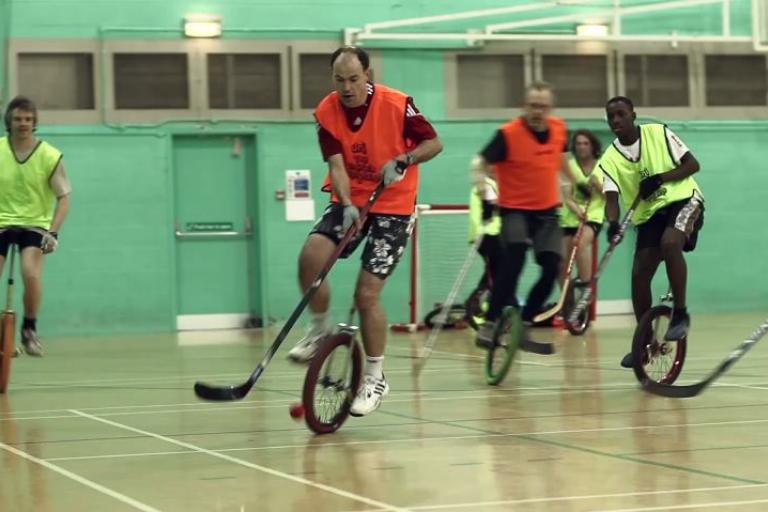 Unicycle Polo Vimeo still from An Unusual Game
