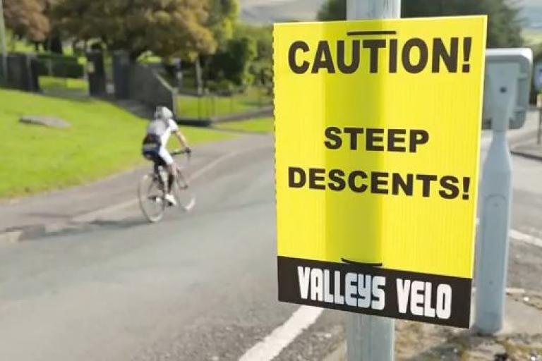 Valleys Velo steep descents sign YouTube still