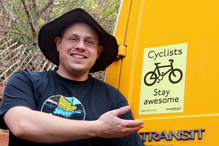 Yvan Seth and Cyclists Stay Awesome sticker (CC-BY 2.0 John Stevenson)