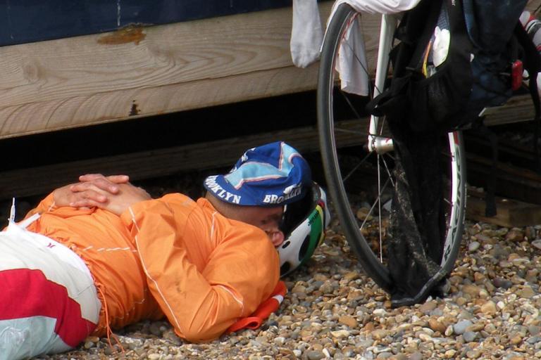 sleeping cyclist (copyright estherase:Flickr)