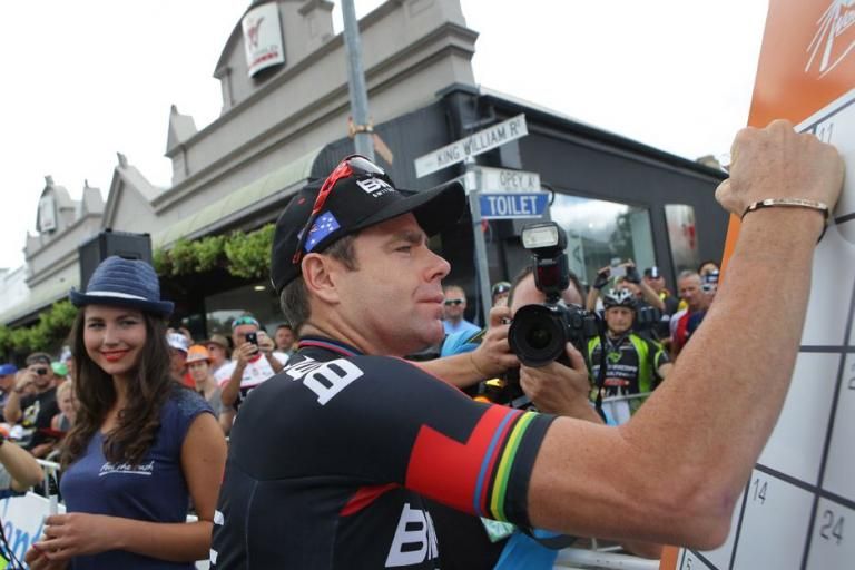 Tour Down Under 2015 Stage 2 19 Cadel Evans signs on (picture credit Regallo)
