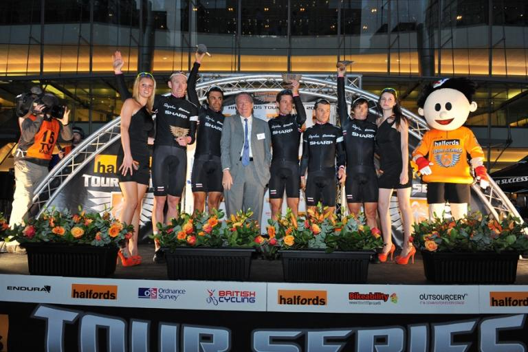 Rapha Condor Sharp on the Canary Wharf Podium (picture credit Halfords Tour Series)