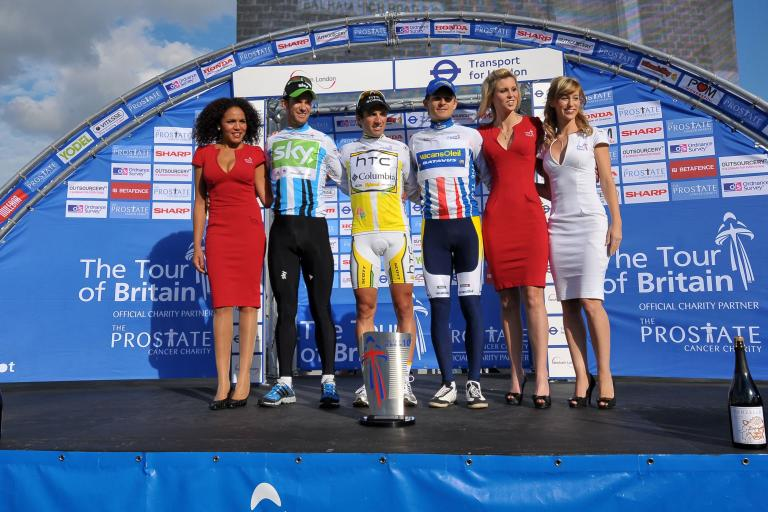 The Tour of Britain podium (picture credit- The Tour of Britain)
