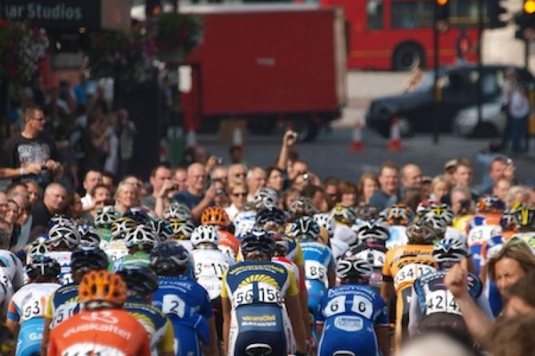 Trafalgar Square provides the backdrop during the London stage of the 2009 Tour of Britain