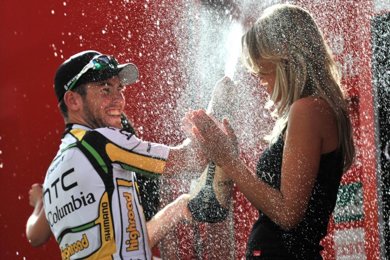 Mark Cavendish celebrates on the Vuelta podium after winning Stage 13 (copyright Unipublic:Graham Watson)