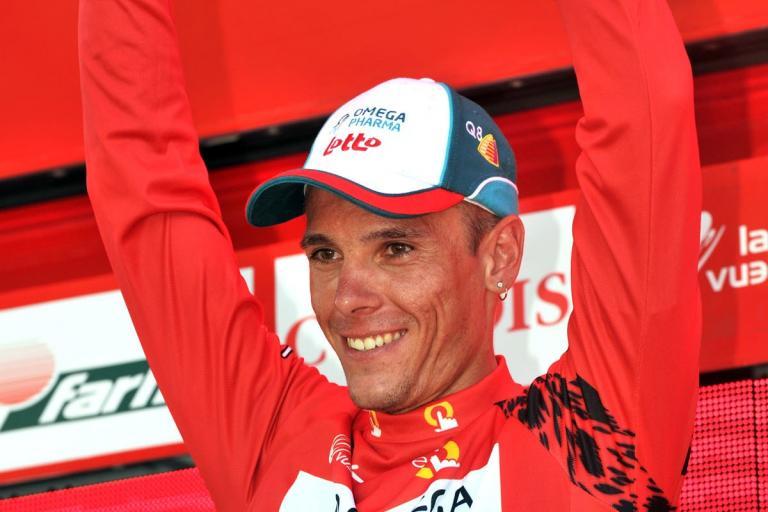 Philippe Gilbert in the Vuelta leader's jersey (copyright Unipublic:Graham Watson)