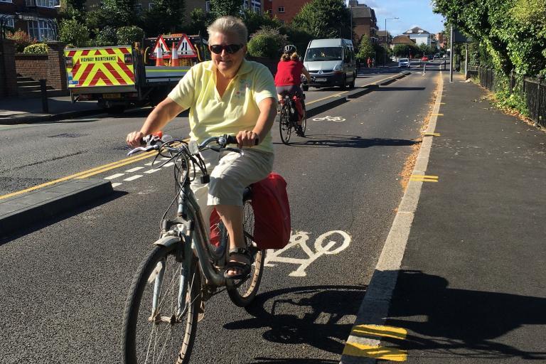 Portsmouth Road cycle lane - Kingston Mini Holland