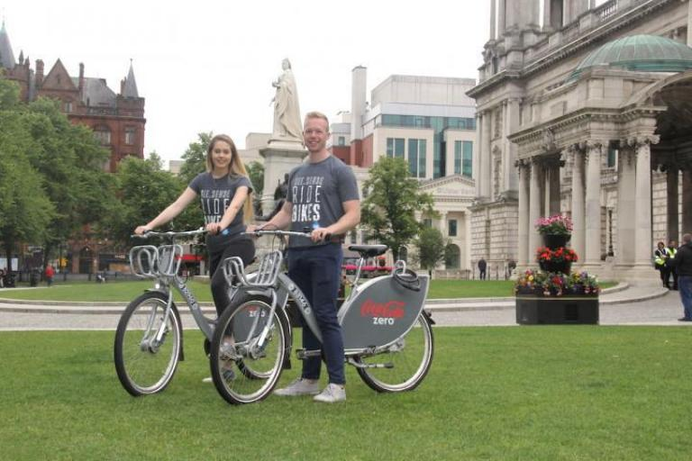 Charlotte (Designer) and Fearghal (Smart Cities Project Lead) of See.Sense with Coca-Cola Zero Belfast Bikes.jpg
