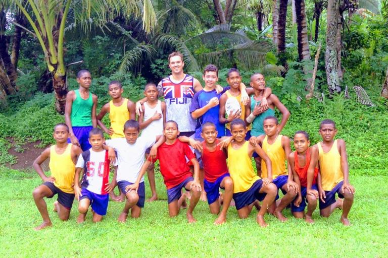 Jack Berry - Visiting Fiji with kids of Nakobo Village, Savusavu, Fiji - 2013 (picture via Jack Berry Fijian Foundation on Virgin Money Giving)