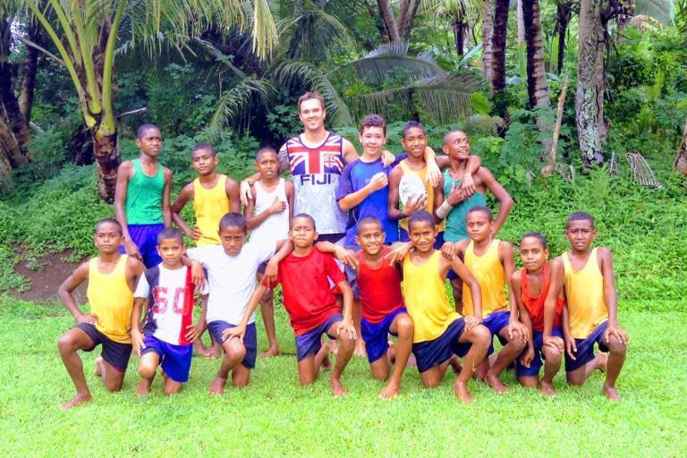Jack Berry - Visiting Fiji with kids of Nakobo Village, Savusavu, Fiji - 2013 (picture via Jack Berry Fijian Foundation on Virgin Money Giving)