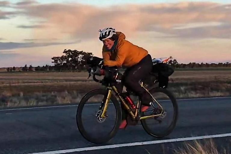 Jenny Graham in Australia (picture via Cycling UK)
