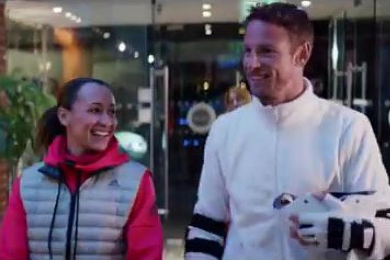 Jessica Ennis-Hill and Jenson Button Santander Cycles clip.JPG
