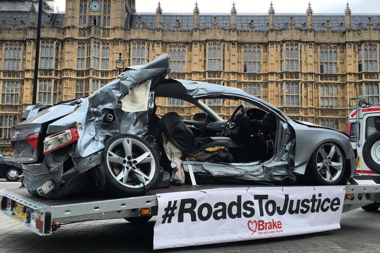 Joseph Brown-Lartey, whose car is pictured, was killed when a driver jumped a red light at 80mph (image by Brake).jpg