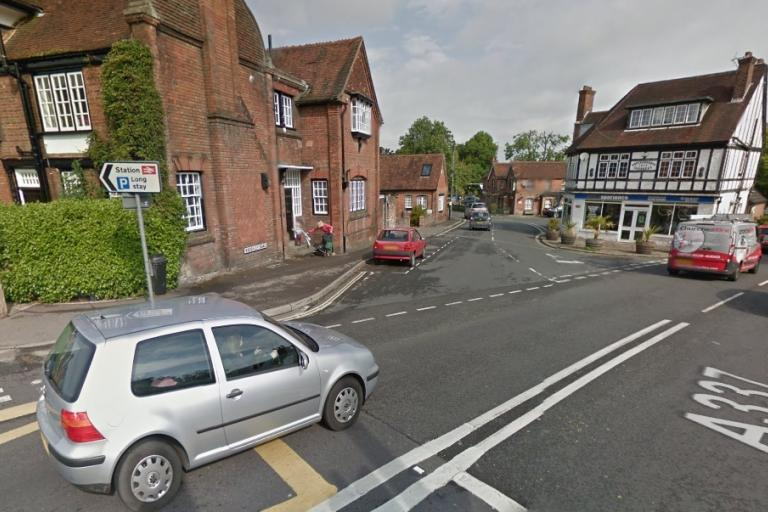 Junction of Lymington Road and Brookley Road in Brockenhurst where cycle by-pass has since been installed (via StreetView).jpg