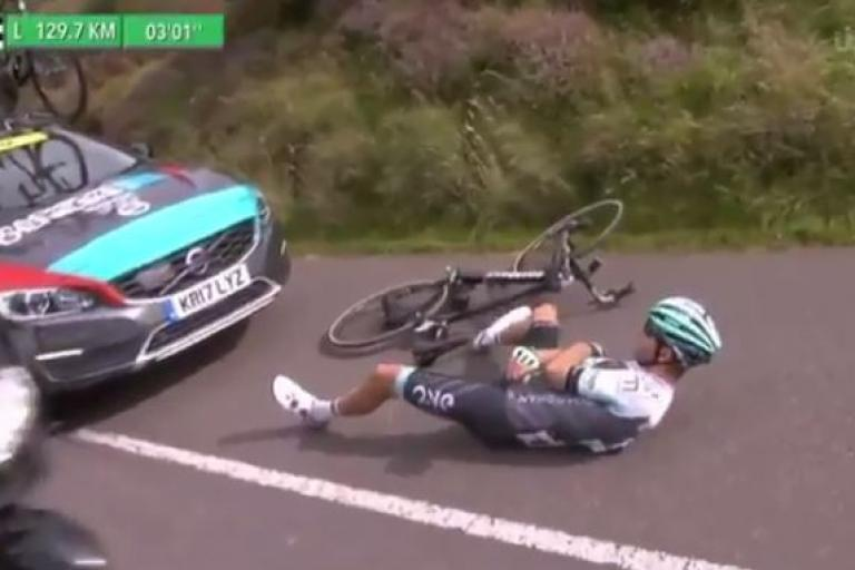 Karol Domagalski struck by Madison-Genesis team car at 2017 Tour of Britain.JPG
