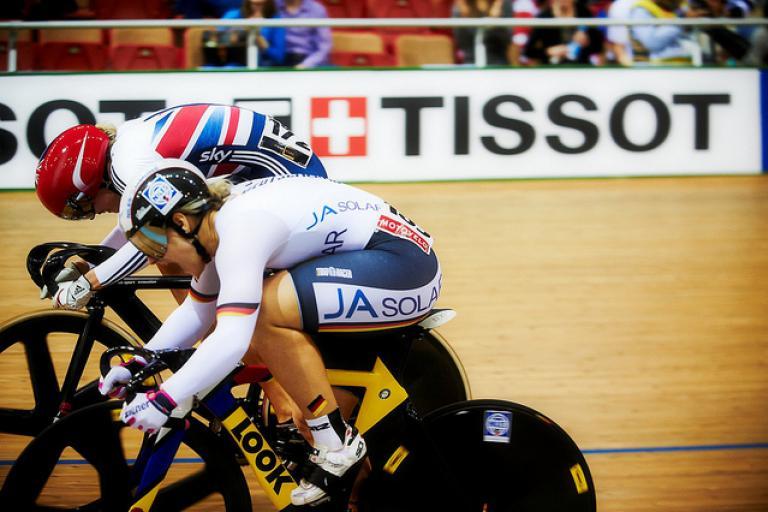 Kristina Vogel (near side) at UCI Track World Championships 2013 (copyright Britishcycling.org_.uk)