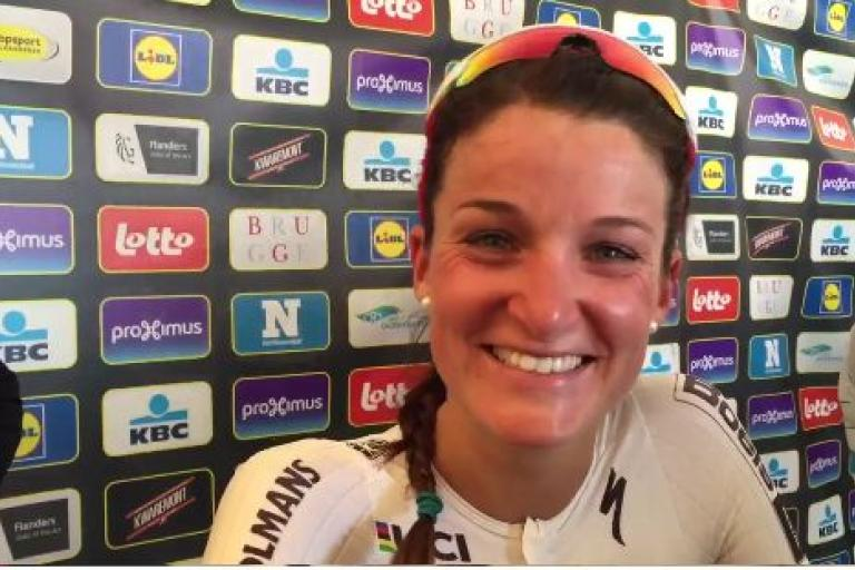 Lizzie Armitstead after winning Tour of Flanders 2016 (Ronde van Vlaanderen Twitter video still).JPG
