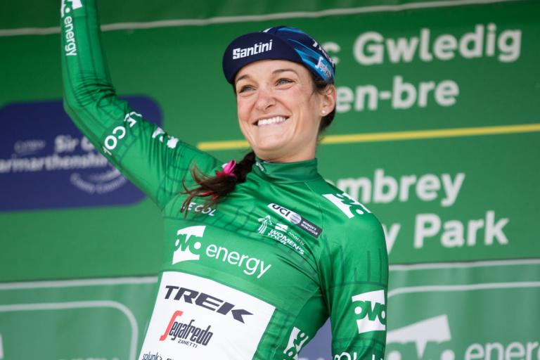Lizzie Deignan after winning the 2019 Ovo Energy Tour of Britain (picture credit Velofocus via Trek Segafredo)