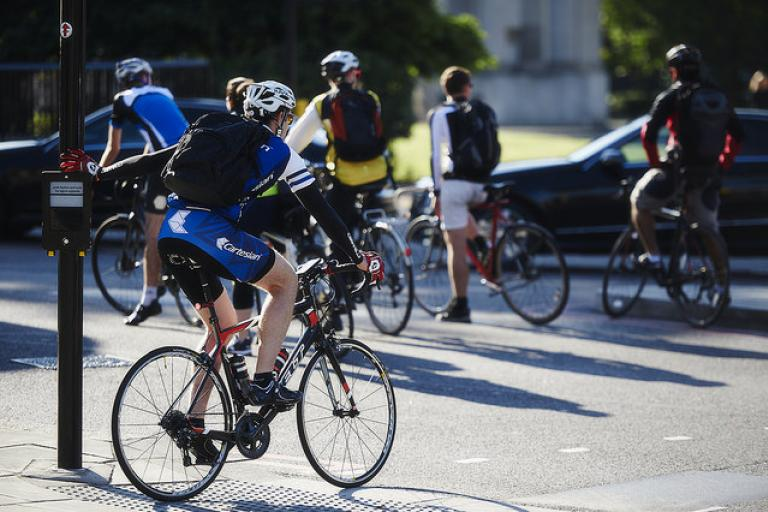 London bike commuters in Lycra (copyright Britishcycloing.org_.uk)