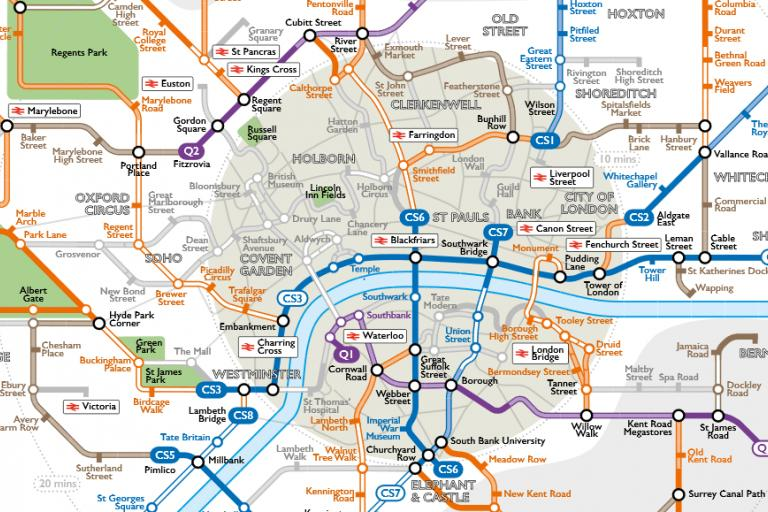 London Cycle Lane Map (credit Route Plain Roll, London Cycling Network).PNG