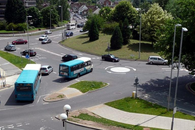 Magic Roundabout in Hemel Hempstead (licensed CC BY SA 3.0 on Wikimedia Commons by Obukit)